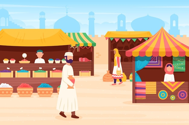 Arab bazaar illustration with merchants and customers