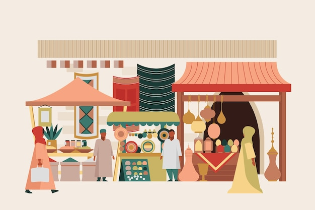 Arab bazaar illustration