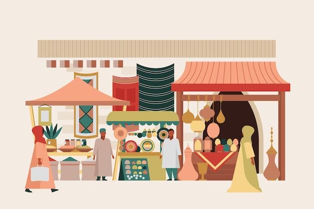 Арабский базар иллюстрация