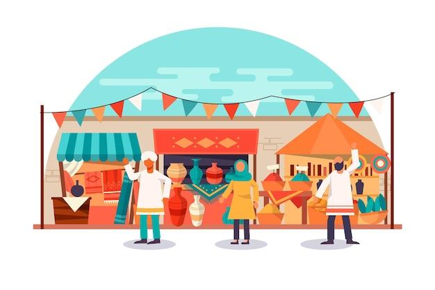 Arab bazaar market illustration