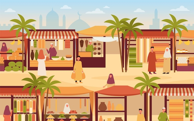 Arab bazaar market illustration