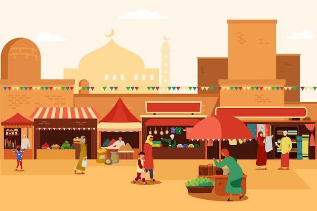 Arab bazaar with people buying products