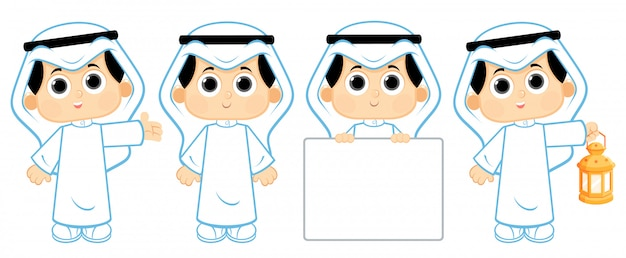 Arab boy carrying ramadan lantern