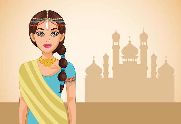 Arab bride and mosque