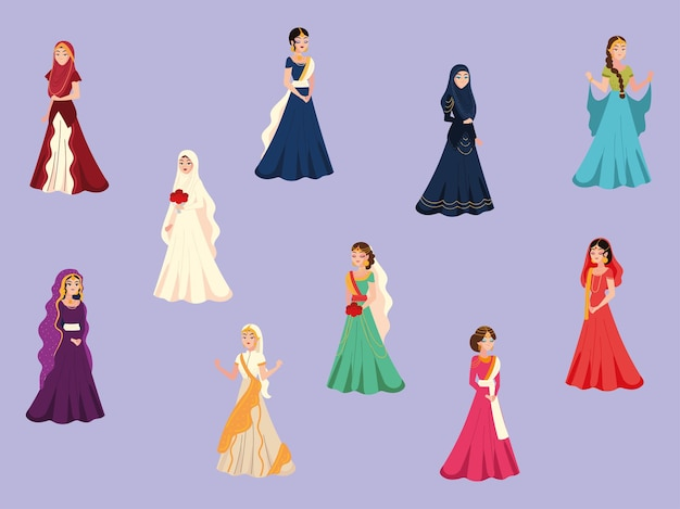 Arab brides in traditional dresses