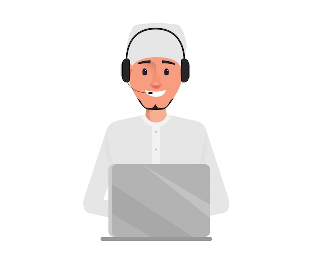 Arab business man in call center character.