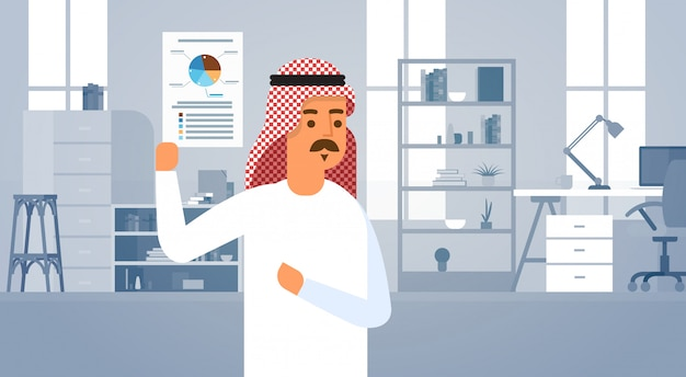Arab business man holding documents with economic finance graph entrepreneur in modern office