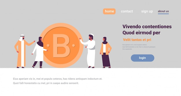 Arab business man woman mining bitcoin banner
