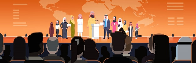 Arab business people group on conference meeting or presentation horizontal illustration team of arabian speakers corporate training concept