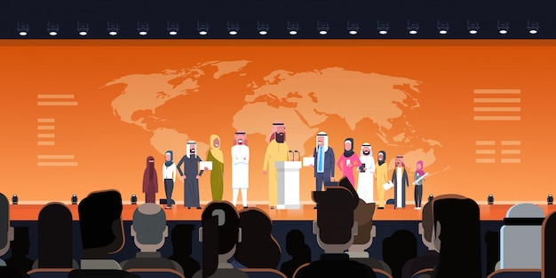Arab business people group on conference meeting or presentation over world map illustration team of arabian speakers corporate training or report concept