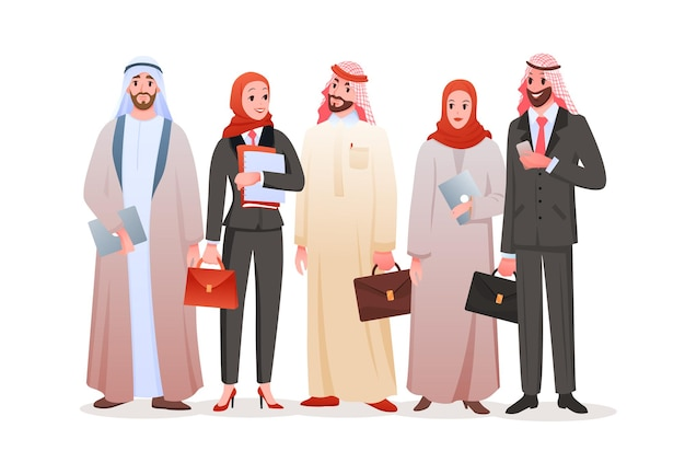 Команда арабских деловых людей. Premium векторы