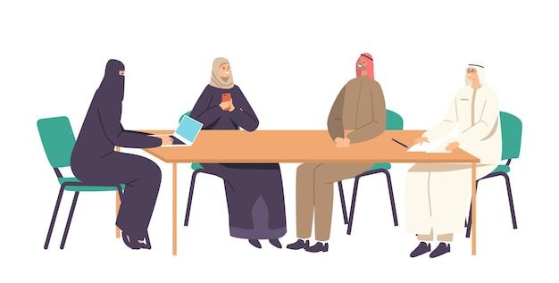 사무실에서 파트너와 아랍 비즈니스 팀 이사회 회의. 책상에 앉아 의사 소통하는 남성과 여성 캐릭터, 국제 파트너십 및 협업. 만화 사람들 벡터 일러스트 레이 션