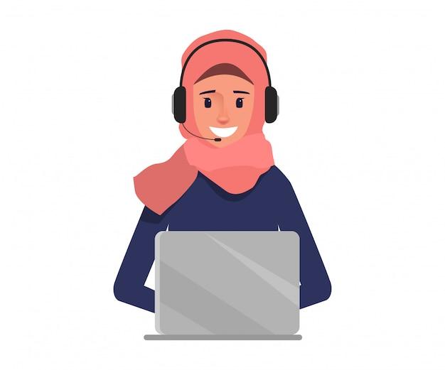 カスタマーサービスの文字にコールセンターのアラブのビジネス女性。