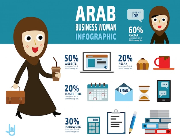 Arab business woman. item collection flat elements design illustration cartoon character. - vector