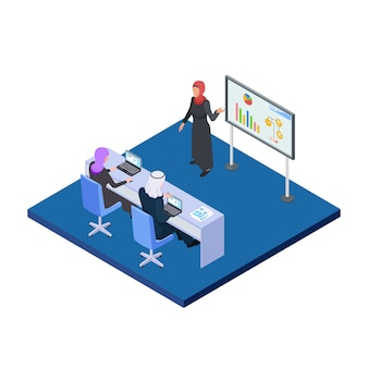 Arab business woman presenting a business project. isometric male and female saudi people