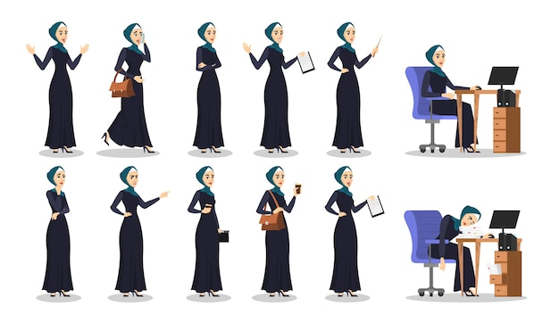 Arab business woman set. collection of lady in hijab