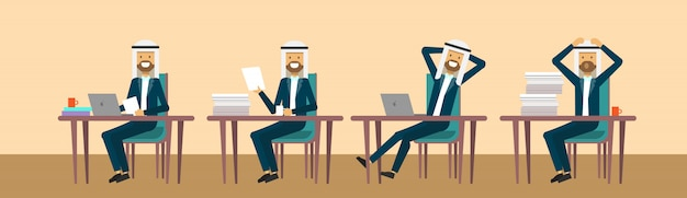 Arab businessmaman sitting at office desk in different poses hard working business man process concept banner