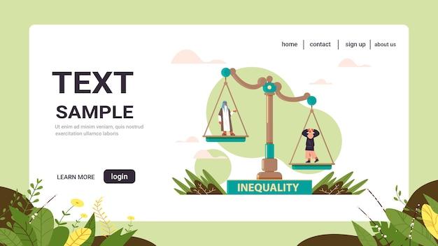 アラブのビジネスマンとビジネスウーマンスケールビジネス企業不平等コンセプトジェンダー男性対女性の不平等な機会コピースペース
