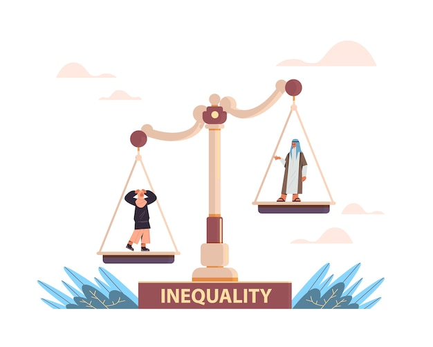 Arab businessman and businesswoman on scales business corporate inequality concept gender male vs female unequal opportunities