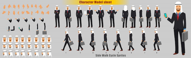 Arab businessman character model sheet with walk cycle animation sprites sheet