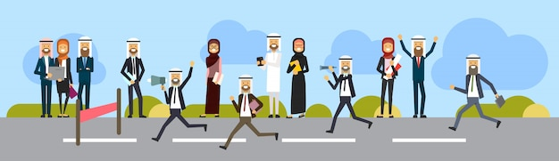 Arab businessman crossing finish line wear office suit leader in race tape position isolated   background
