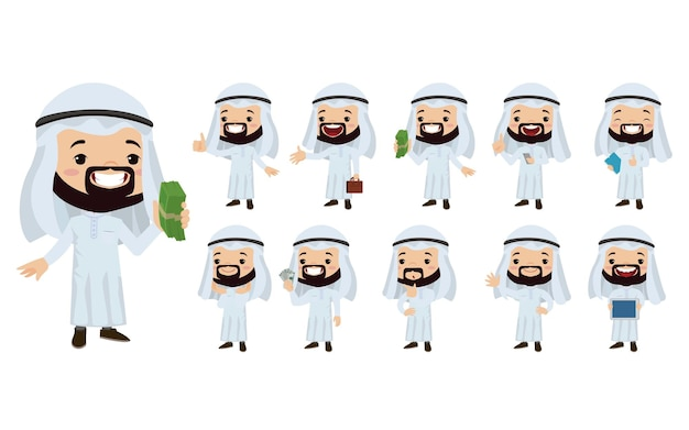 Arab businessman in different actions