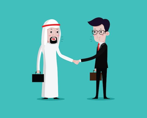 Arab businessman handshake businessman