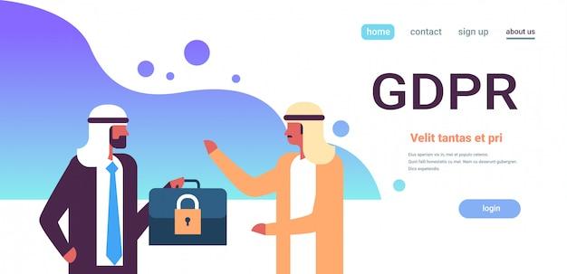 Arab businessman hold case padlock security gdpr