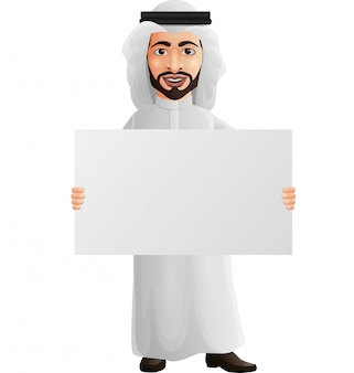 Arab businessman holding a blank placard
