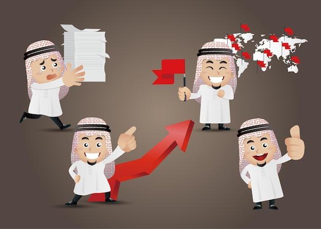さまざまなアクションの漫画のキャラクターセットでアラブの実業家