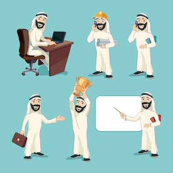 Арабский бизнесмен в разных действиях. набор векторных персонажей мультфильма. рабочий человек, профессиональный менеджер, улыбка и выражение, арабская одежда