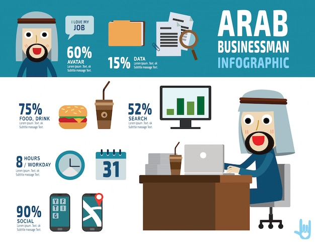 Arab businessman. item collection flat elements design illustration cartoon character. - vector