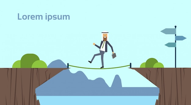 Arab businessman leader going tightrope balancing bridge risking abyss between mountain risk assessment concept   background