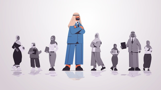 Arab businessman leader standing in front of arabic businesspeople group leadership business competition concept  full length  illustration