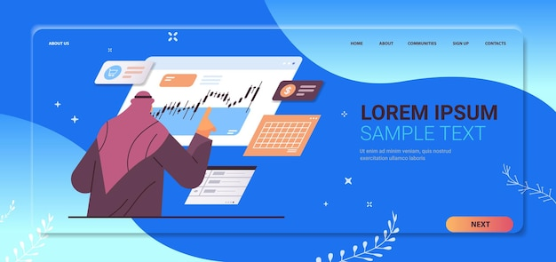Arab businessman monitoring financial stock market analyzing charts and graphs stock exchange concept portrait horizontal copy space vector illustration