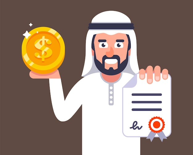 Arab businessman offers to conclude a contract. job invitation to dubai