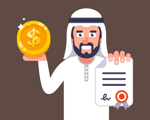 アラブのビジネスマンは契約を結ぶことを申し出ます。ドバイへの求人