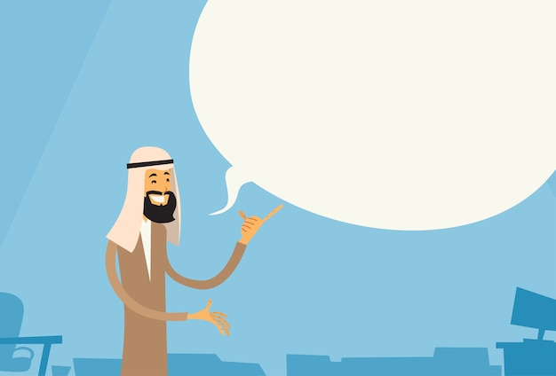 Arab businessman point finger up chat bubble
