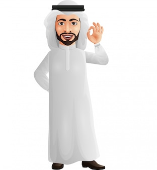 Arab businessman showing okay/ok sign