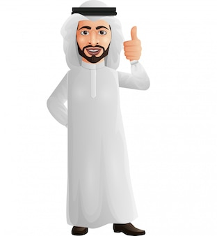 Arab businessman showing thumbs up sign