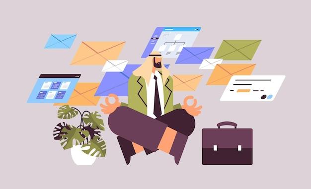蓮のポーズビジネスマンヨガ運動瞑想リラクゼーションコンセプト水平全長ベクトル図に座っているアラブのビジネスマン