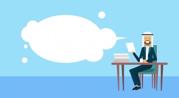Arab businessman sitting at office desk hold paper bubbles business man cofee break concept