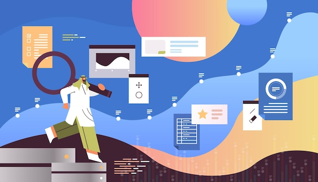 Арабский бизнесмен, использующий данные веб-страницы с увеличительным стеклом, анализируя горизонтальную маркетинговую концепцию