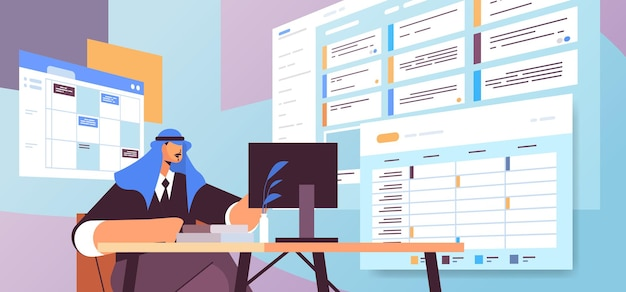 Arab businessman at workplace planning day scheduling appointment in online calendar app agenda meeting plan time management concept horizontal portrait vector illustration