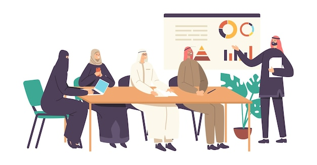 Арабские бизнесмены и деловые женщины в офисе. коммуникация, современный маркетинг. международные партнерские отношения, встреча представителей арабских деловых кругов. мультфильм люди векторные иллюстрации