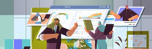 Arab businesspeople analyzing financial statistic data with colleagues in web browser windows during video call online communication teamwork concept horizontal portrait vector illustration