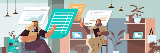 Arab businesspeople analyzing statistic data on virtual boards successful teamwork concept office interior horizontal portrait vector illustration