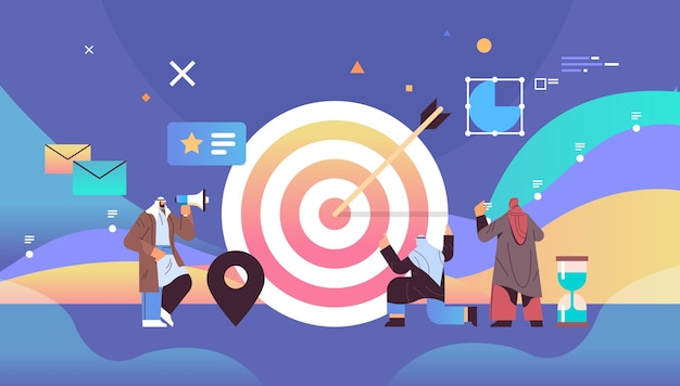 Arab businesspeople arching in profit target achievement goal successful teamwork concept full length horizontal vector illustration