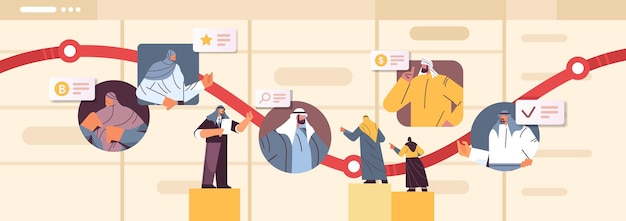 Arab businesspeople on arrow chart financial growth business development concept horizontal portrait vector illustration