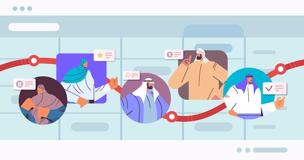 Arab businesspeople on arrow chart financial growth business development concept